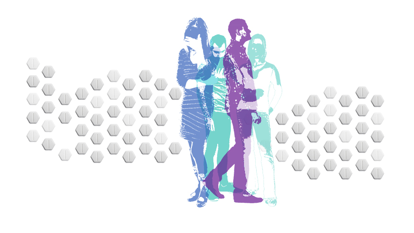 Illustration of sad people depicting opioid abuse