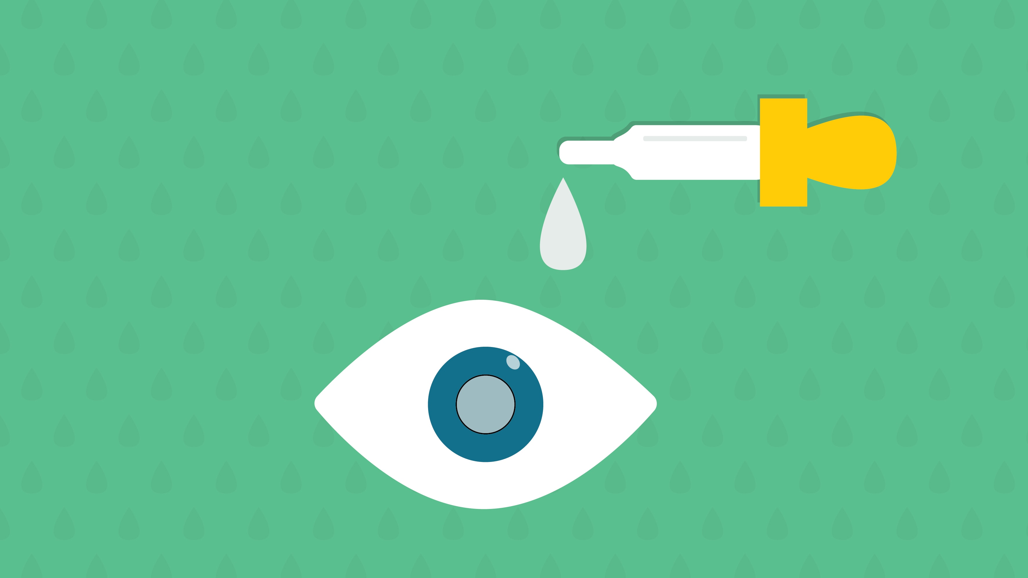 Illustration of an eye receiving glaucoma eye drops