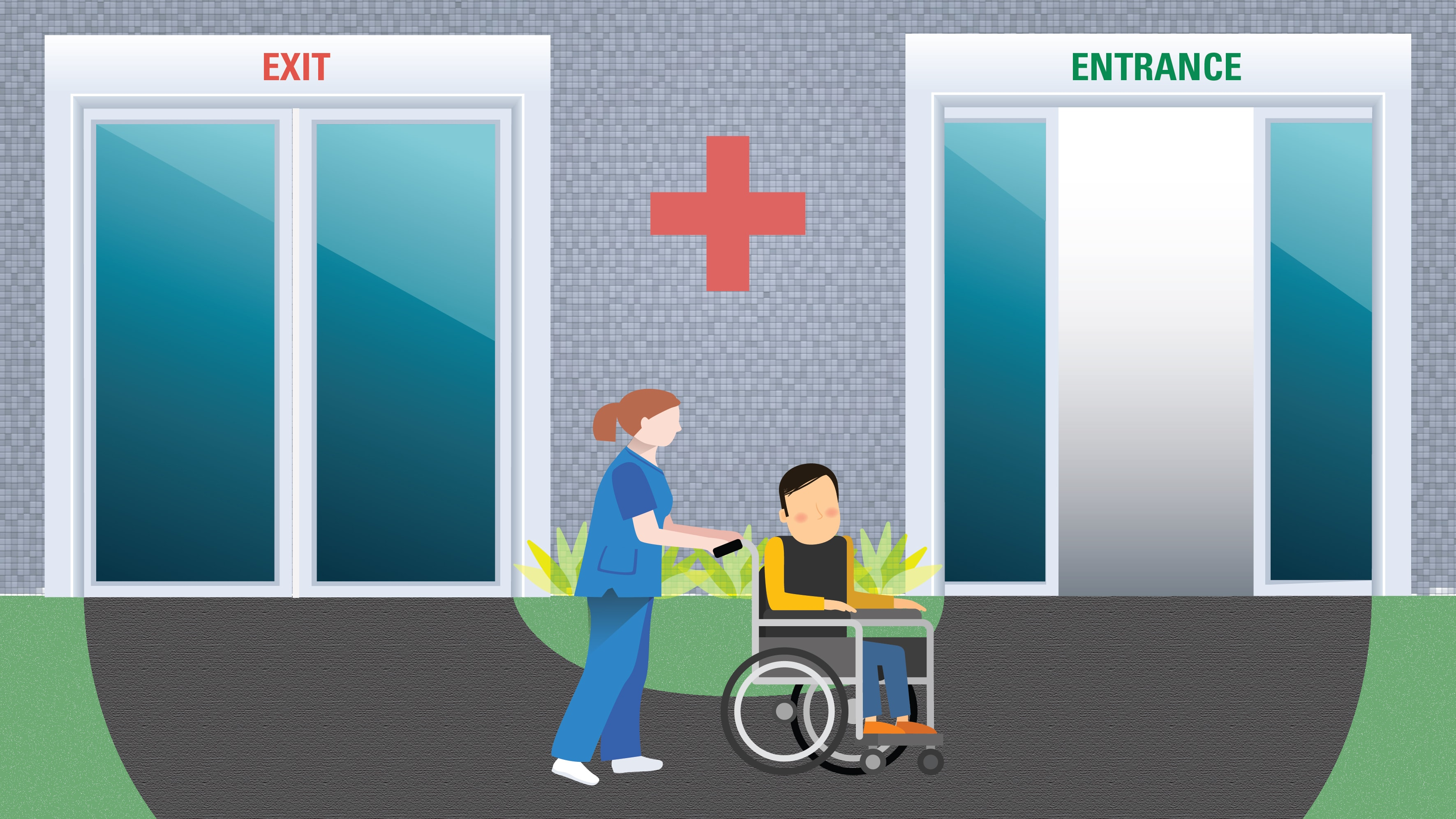 Illustration depicting a hospital patient being quickly readmitted to the same hospital.
