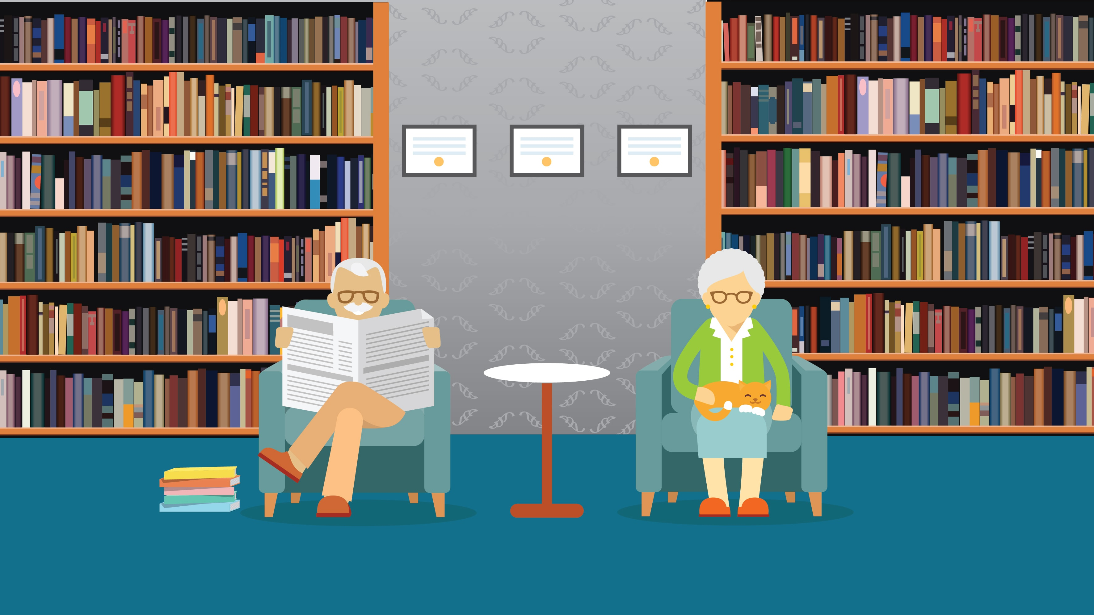 Graphic of elderly couple sitting in a library