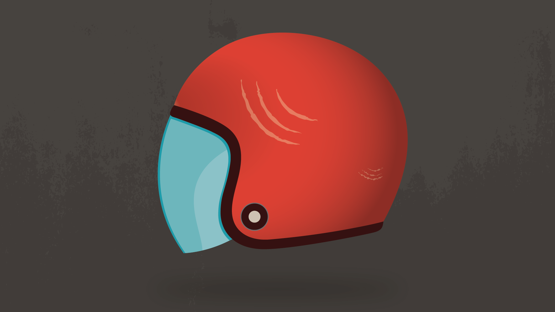 Illustration of a red motorcycle helmet