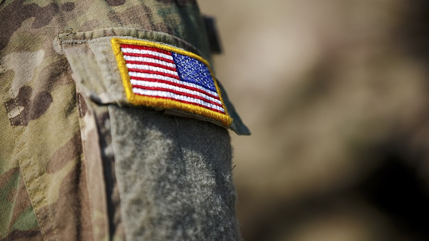 US flag patch on a military uniform