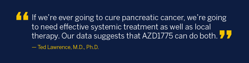 If we're ever going to cure pancreatic cancer, we're going to need effective systemic treatment as well as local therapy. Our data suggests that AZD1775 can do both.
