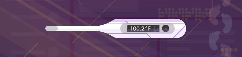 Purple background with white thermometer reading 100.2