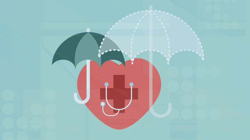 Red medical heart under two teal insurance umbrellas