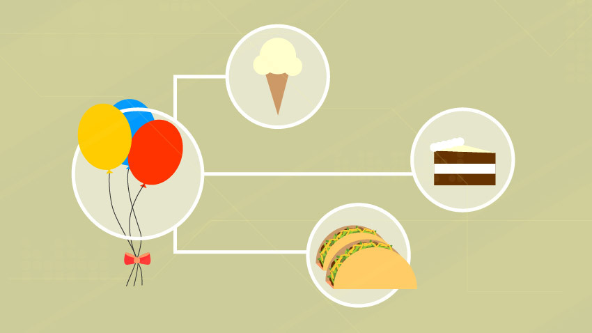 balloons, ice cream, cake and tacos in white circles and connected by white lines