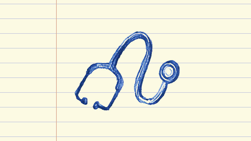 Drawing of a doctor's stethoscope