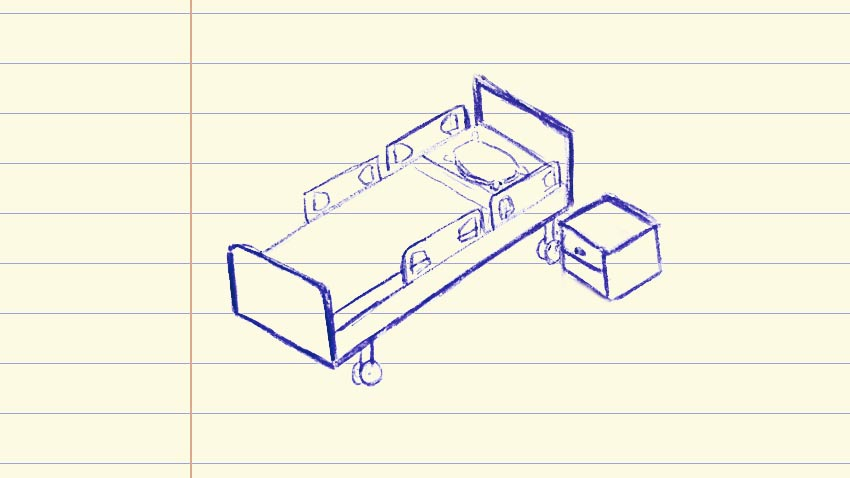Drawing of hospital bed on notebook paper