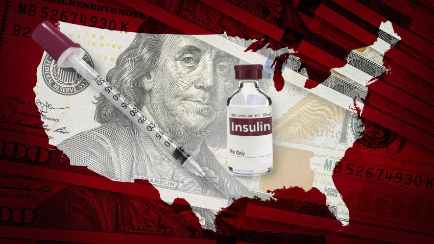 state of US with picture of president and insulin bottle and needle in it