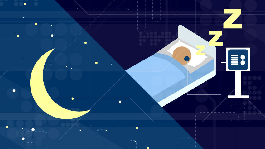 moon and stars and bed with person sleeping with zzz's being sleep tested