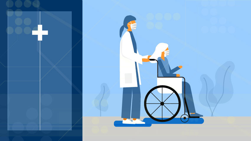 graphic of person wheeling person in wheelchair