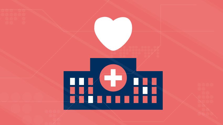 white heart over navy blue hospital with red background