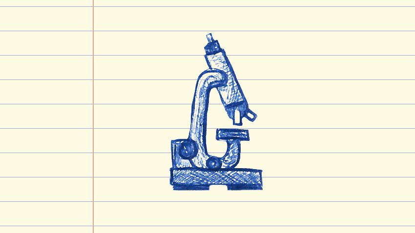 microscope drawn in blue ink on notepad paper