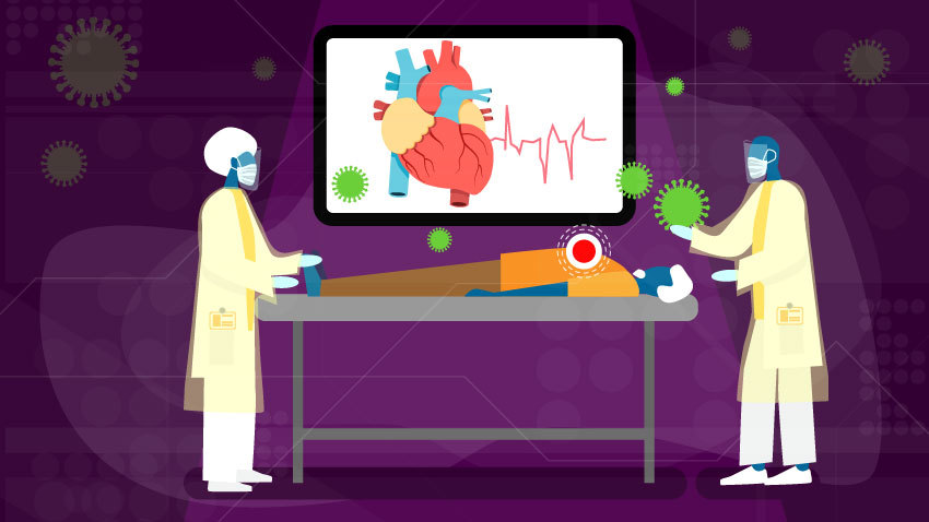 illustration of two people standing over patient with heart on monitor and green COVID germs floating around