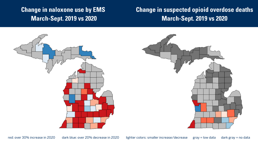 change in naloxone use by EMS march-sept. 2019 vs 2020. red: over 30% increase in 2020. dark blue: over 20% decrease in 2020. Change in suspected opioid overdose deaths March-Sept. 2019-2020. lighter colors: smaller increase/decrease gray = low data dark gay = no data
