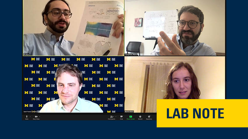 "visual of four experts talking on a screen with the branding ""lab note"" on bottom right to indicate the section this story lives in on the blog"