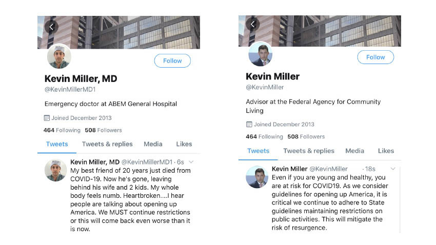side by side of covid simulated tweets