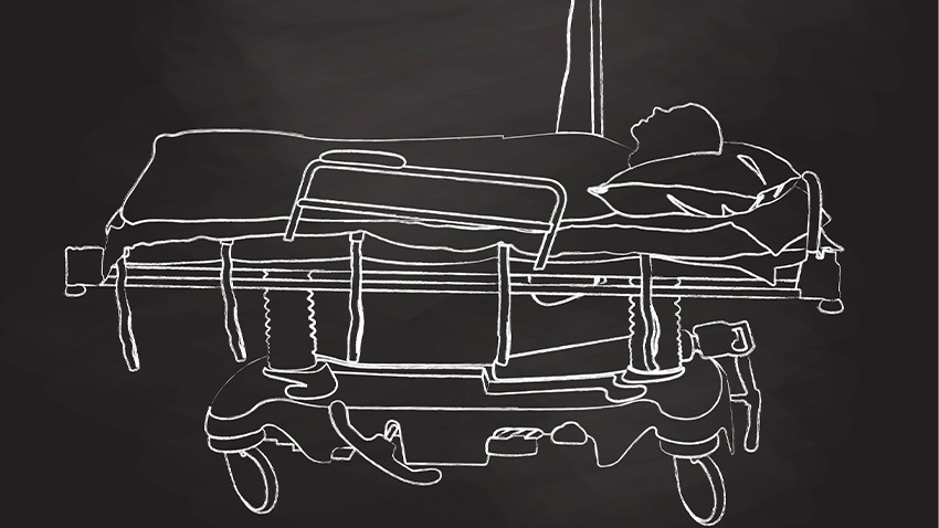 drawing of person on black background in white ink laying on a hospital bed