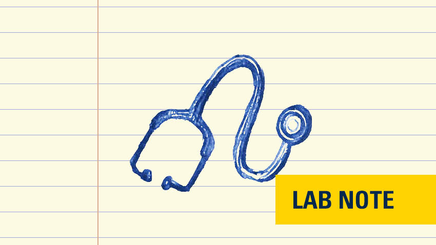 stethoscope in blue ink drawing on lined paper with yellow badge bottom right saying lab note in blue font