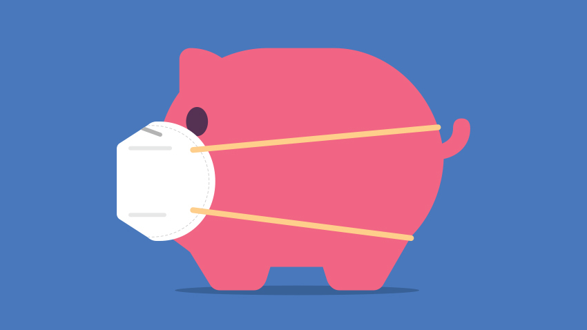 cartoon pink pig on blue background wearing white mask over mouth