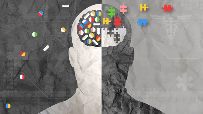 grey outline of a brain with the left side light grey and the right side dark grey and colorful puzzle pieces floating in and out of the brain