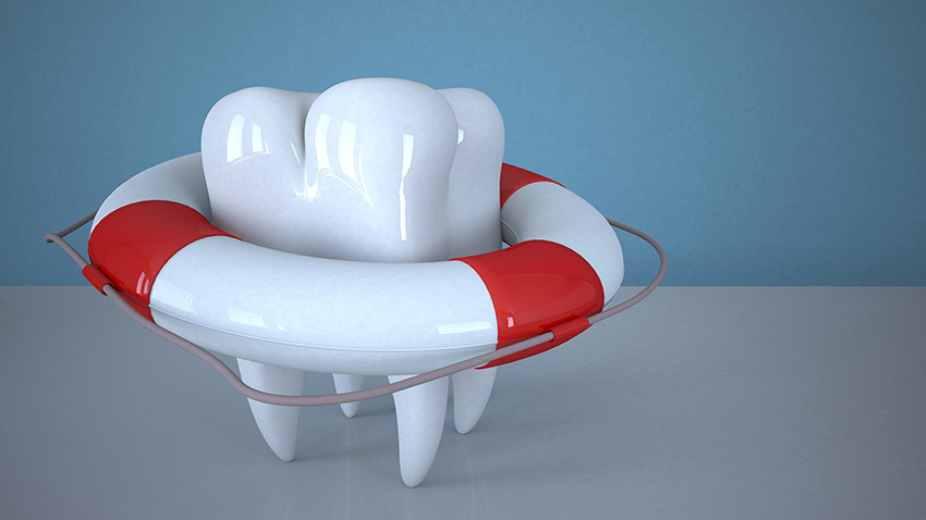 tooth with life belt in white and red