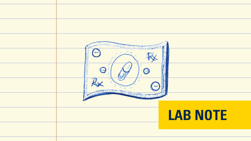 money drawing in blue ink on lined paper with words lab note in bottom right in yellow and blue