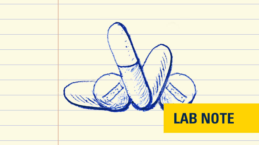 lab notes pill image with yellow badge bottom right