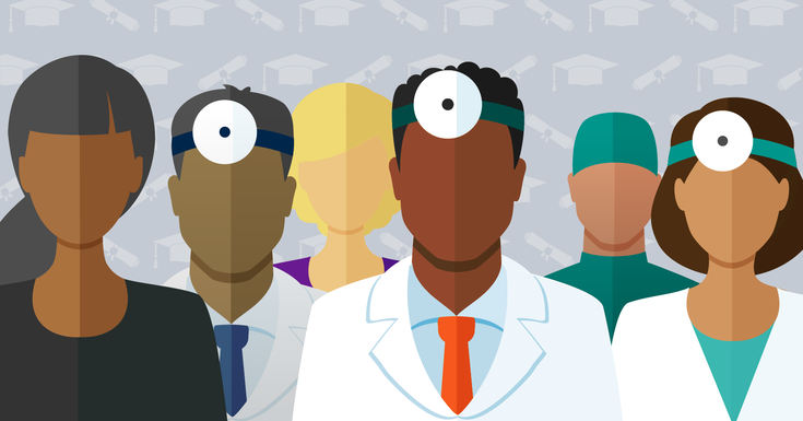 Illustration of physicians representing diversity in medicine