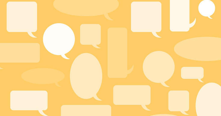 Conversation boxes on a yellow background