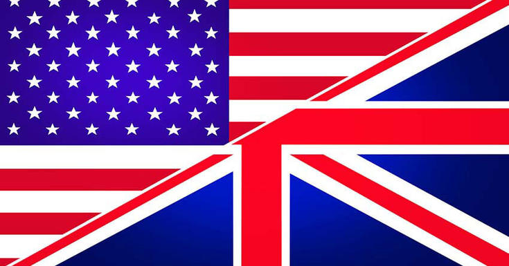 US and British flags
