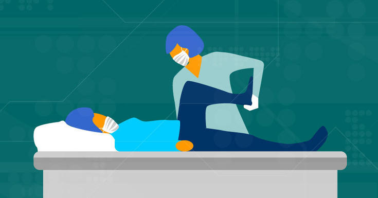 health care worker stretching patient
