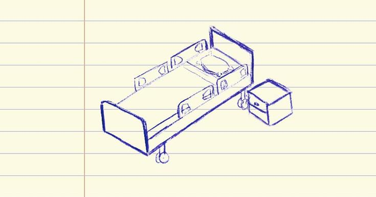 drawing of hospital bed on lined paper