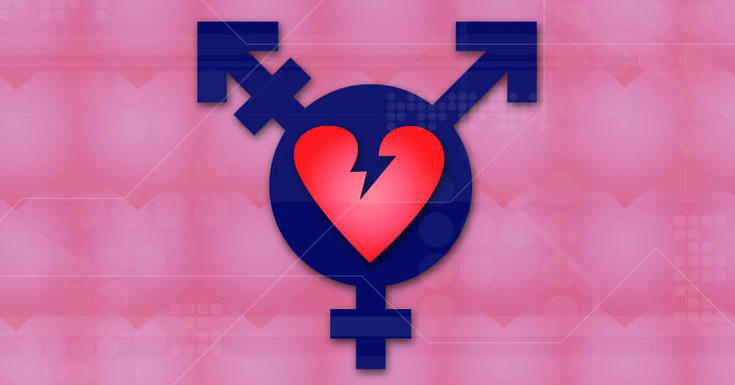 pink broken heart transgender symbol on pink patterned background