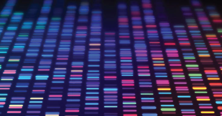 colorful sequencing data processing on black background