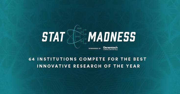 teal background saying Stat madness 65 institutions compete for the best innovative research of the year