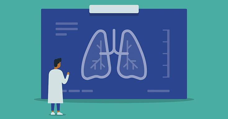 doctor in lab coat with blue xray of lungs