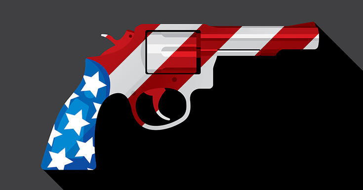 gun with American flag stripes on it