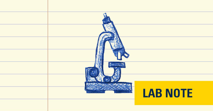 lab notes microscope in blue ink on lined paper with yellow lab note badge in blue font