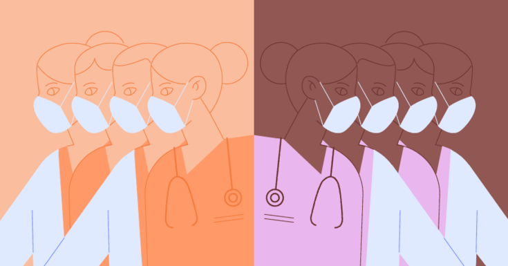 drawings of white doctors on one side in peach and white coats and then Black doctors on other side in pink and white coats.