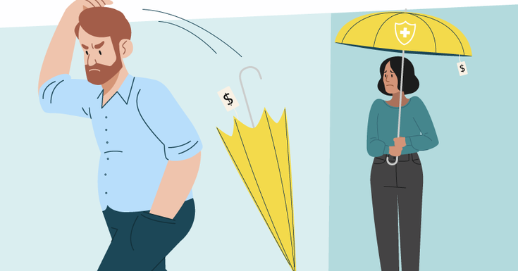 man mad throwing umbrella away and woman looking worried from a distance with an umbrella