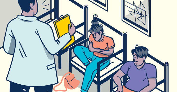 graphic of woman sitting in waiting room in extreme pain holding stomach next to another patient with doctor holding paper in front
