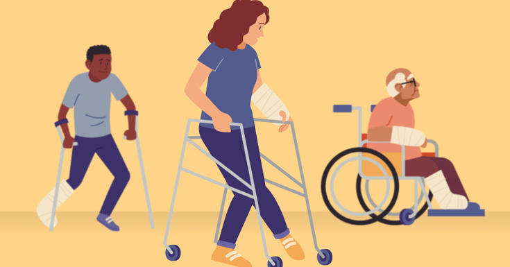 three people walking around with crutches or in wheelchair with broken bones on yellow background