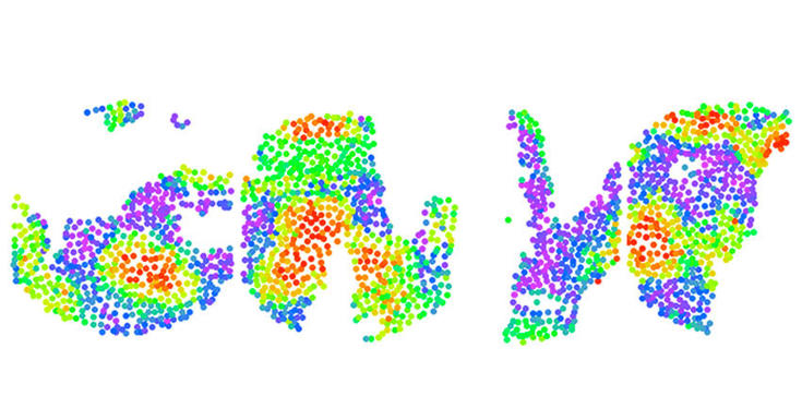 rainbow colored dots on white background