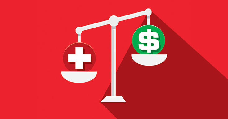 Scales healthcare money on a weigh scale with red background