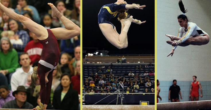 Gymnast performing at events in three photos