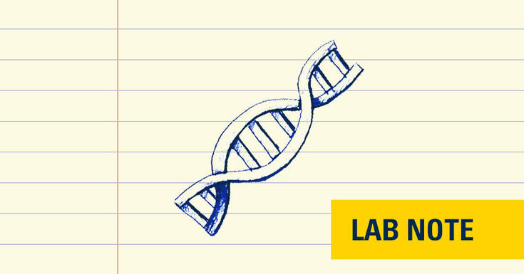 drawing of a DNA strand in yellow badge that says lab note