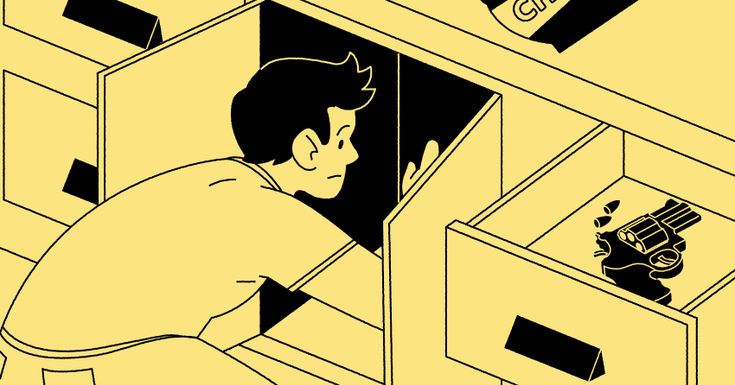 teenager cupboard drawer gun with picture in yellow and black