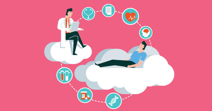 Doctor and patient floating on clouds surrounded by icons relating to heart.