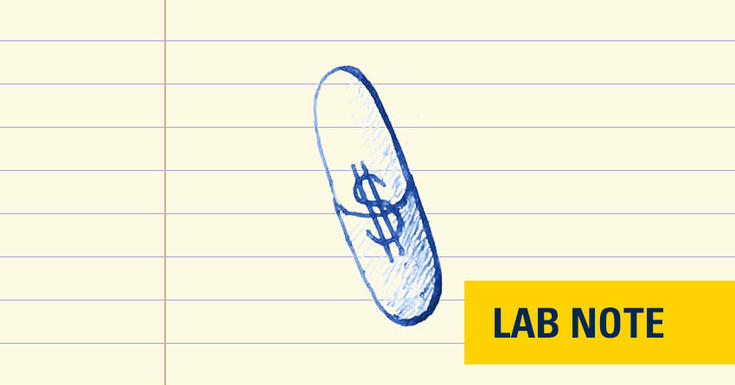 drawing in blue ink on notepad paper of pill with dollar sign in it with lab note wording in yellow and navy on bottom right